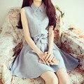 2015 Summer Style Slim Casual Small Fresh Sweet Checkered Bow Lapel Plaid Dress Women's Dresses for Women Dress Female Vestidos