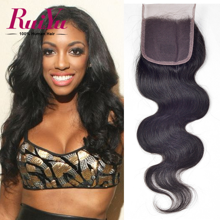 "Peruvian Virgin Hair Body Wave Lace Closure 8""-24""Peruvian Closure Human Hair Closure Free/Middle/Three Part 4X4 Closures"
