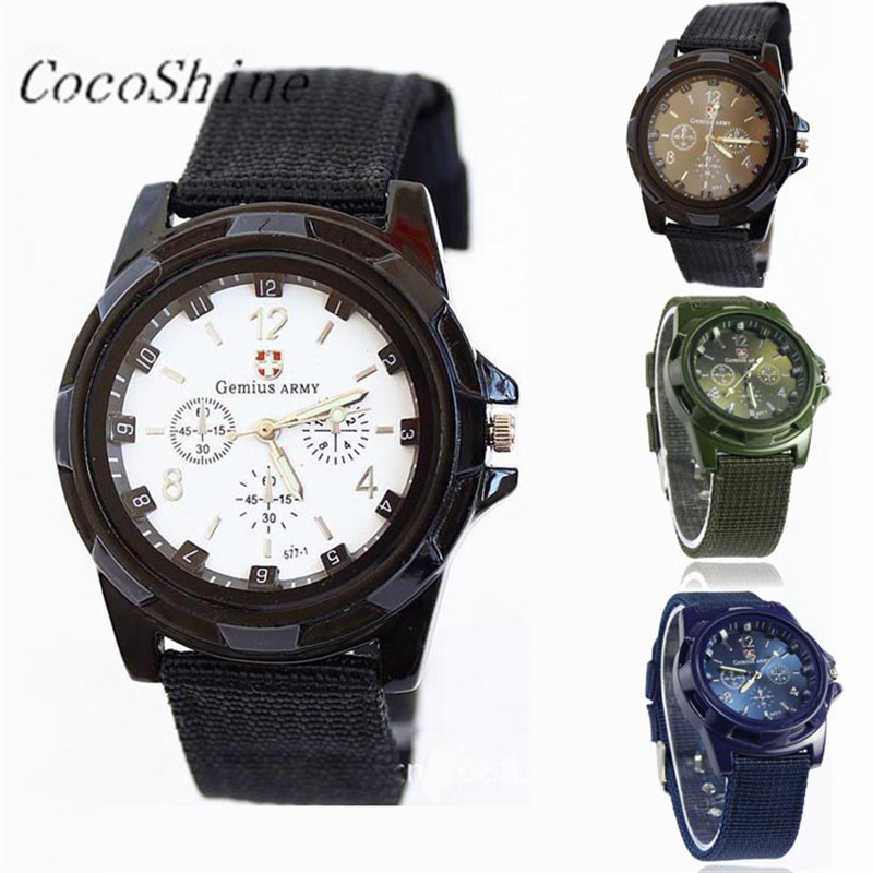 CocoShine A908 Fashion Gemius Army Racing Force Military Sport Men Officer Fabric Band Watch wholesale Free shipping