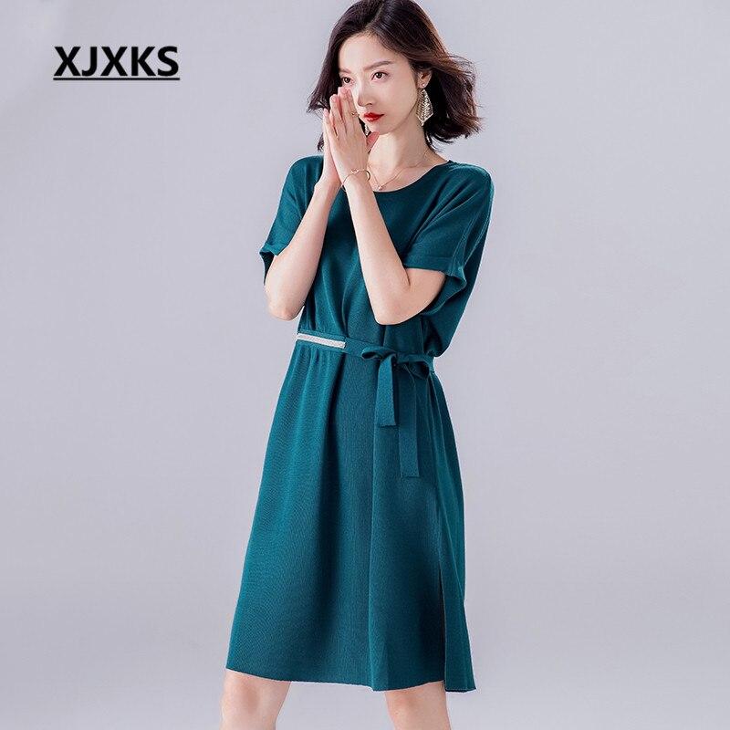 b17e3ba6381e Moda Di Maniche verde Abbigliamento Dimensioni Grandi Vestito Estate Doppie  Del Il viola Donne Cintura A ...