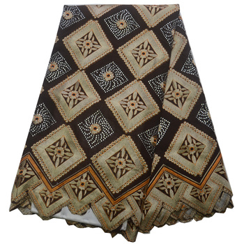 Free shipping (5yards/pc) high quality African Swiss voile lace fabric in coffee with stones and embroidery for dress CLP281