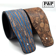 High quality PU Leather Electric Guitar Strap  Bass Strap Wood Grain personality s513