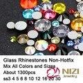 Todos os Tamanhos ss3-ss30 Mista 25 Cor Normal 1300 pcs Nail Art Pedrinhas Cristal Flatback Não Hotfix-Diamantes Strass DIY decoração