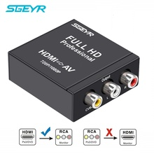 HDMI to AV RCA Converter 1080P HDTV SGEYR HDMI to Composite RCA Audio Video AV CVBS Adapter Converter Box with USB Cable usb male to 3rca rgb female av audio video composite cable cord adapter converter connector component lead rca cable