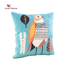 Slowdream Nordic Green Forest Bird Cartoon Cushion Cover Soft Pillow Cases Bedroom Sofa Decoration 40x40cm 1pcs