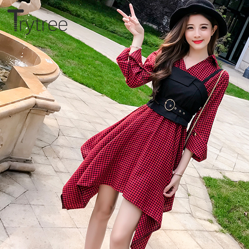 Trytree Autumn Two Piece Set Women Casual  Vest + Dress Plaid Flare Sleeve Suit Set Women Irregular Hem Office Lady 2 Piece Set