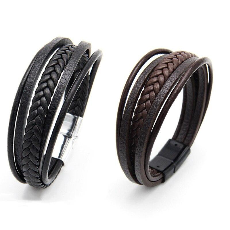 Vintage Stainless Steel Bracelets Men Genuine Leather & Bangles Hand woven multi-layer leather bracelet