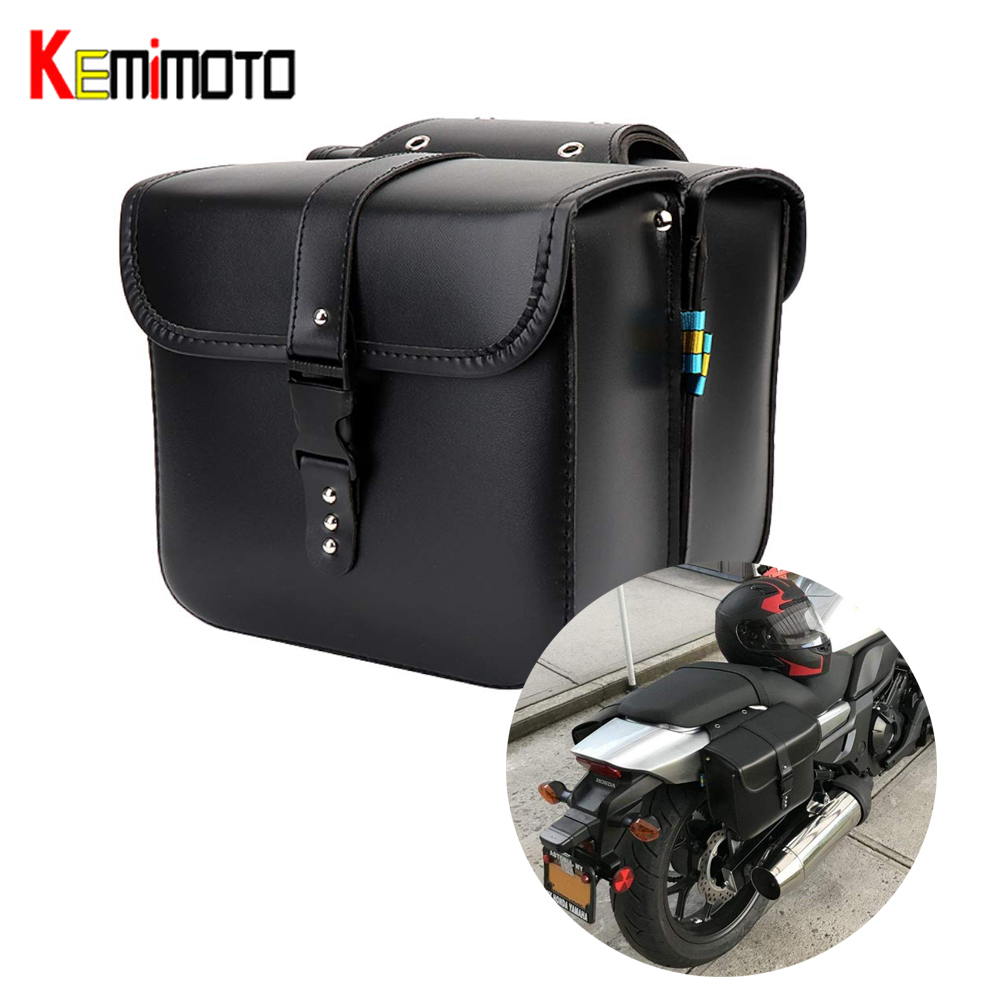 KEMiMOTO Motorcycle Saddlebags For Sportster XL883 XL1200 XL 883 <font><b>1200</b></font> Luggage Black and Brown Side PU Leather Waterproof image
