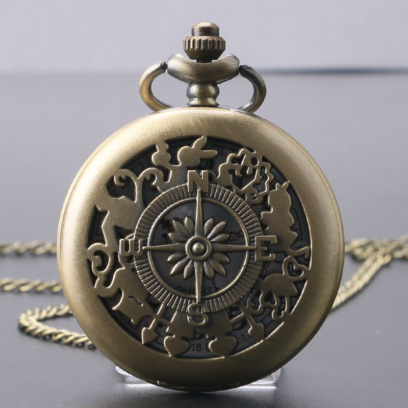 Vintage Watches Compass Hollow Design Bronze Quartz Pocket Watch Male Female White Dial Fob Retro Clock Man Woman Gift