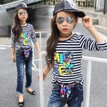 2016 New spring girls clothing T-shirt long sleeves children long T-shirt stripe bottoming shirt Top for girs tees striped