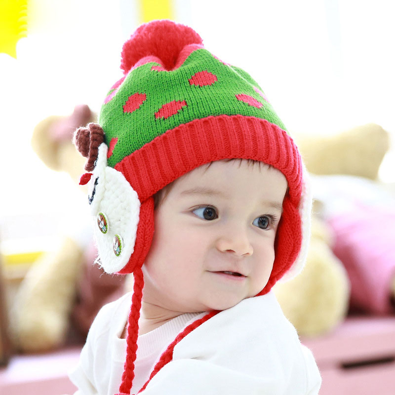 free shipping 200PCS/LOT Children Hats Baby Headdress Santa Claus Kids Hat Christmas Gift Snowman knitted hat