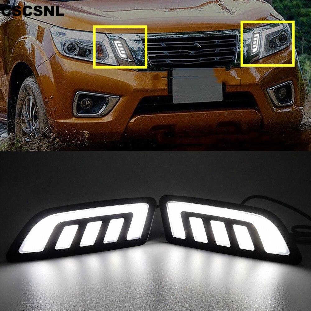 MotorFansClub LED Daytime Running Light DRL Fog Lamp Cover for Nissan NP300 Navara 2015 2016