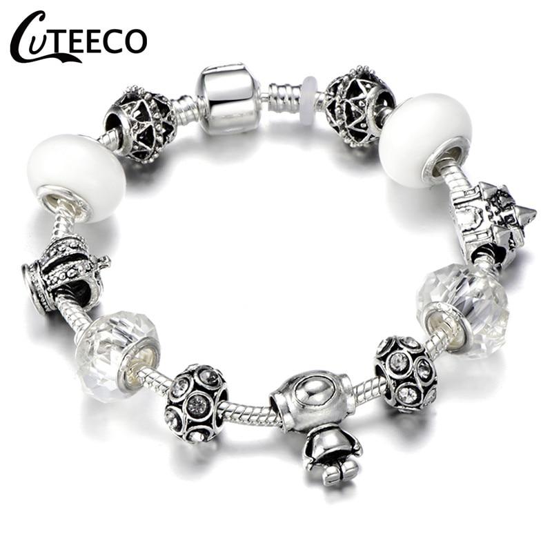 CUTEECO 925, модный серебряный браслет с шармами, браслет для женщин, Хрустальный цветок, сказочный шарик, подходит для брендовых браслетов, ювелирные изделия, браслеты - Окраска металла: AJ3043