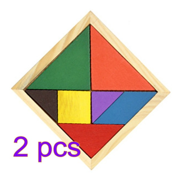 UTOYSLAND Wooden 7 Pieces Puzzle Geometric Tangram Puzzle Colorful Square Jigsaw Board Game Educational Toy for Children Kids