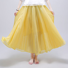 Skirt Summer Pleated High Waist skirt New National Style Wild Long Section Large Size Cotton Linen Fairy