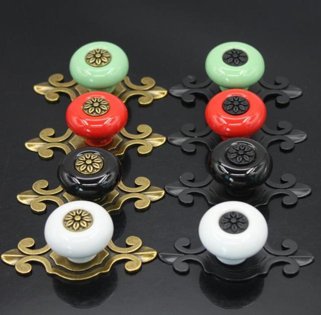 Us 2 23 11 Off Ceramic Knobs Dresser Knobs Drawer Knobs Pulls Handles Backplate Kitchen Cabinet Knobs Red White Black Green Furniture Hardware In