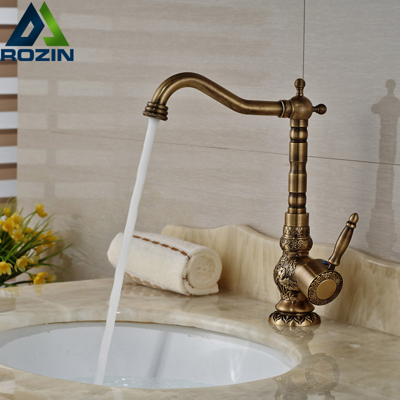 Single Handle Brass Antique Bathroom Kitchen Sink Faucet Deck Mount One Hole Mixer Tap with Hot Cold Water
