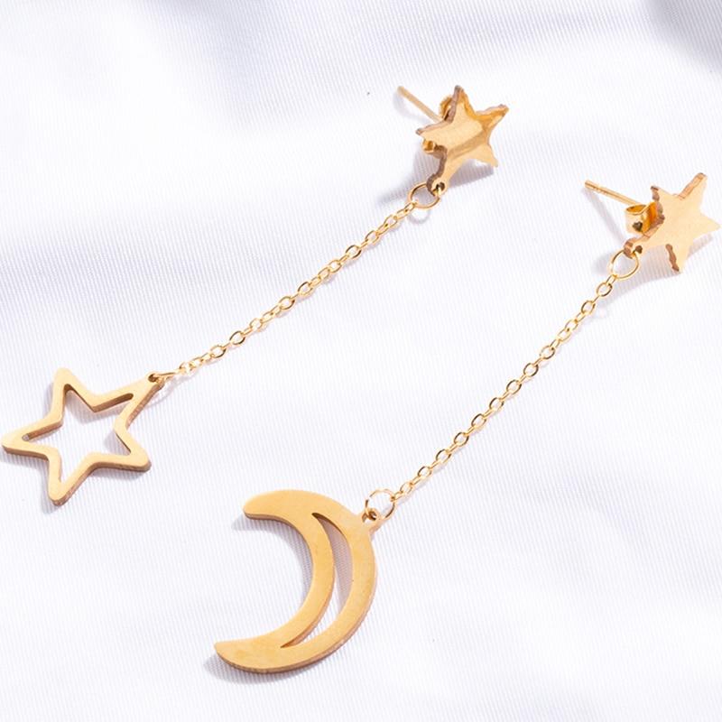 Newest Trendy Star Moon Earrings Long Charming Earrings For Women Girl 2018 Fashion Jewelry Brincos Bijoux Party Girlfriend Gift