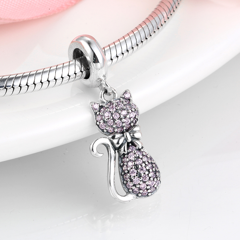 Hot 925 Sterling Silver Pink Sparkling cat Charm