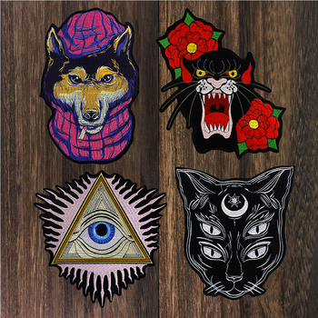 1pc Fashion Cool Eye Wolf Dog Cat Head Patches for Clothing Iron On Embroidered Appliques DIY Apparel Accessories Patch TH1504
