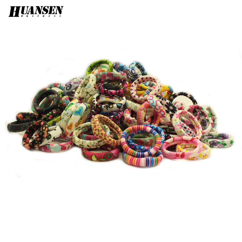 цены  YWHUANSEN Women hair accessories flowers elastic hair bands Print scrunchy gum for hair ties girls headwear 20 Pieces