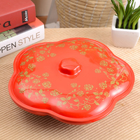 Chinese Melamine 6Grids Rotating Dry Fruit Bowl With Lid Dessert Plate Candy Snacks Nuts Seeds Tray