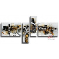 Free Shipping Handmade 4 Piece Black White Modern Abstract Oil Painting On Canvas Wall Art For