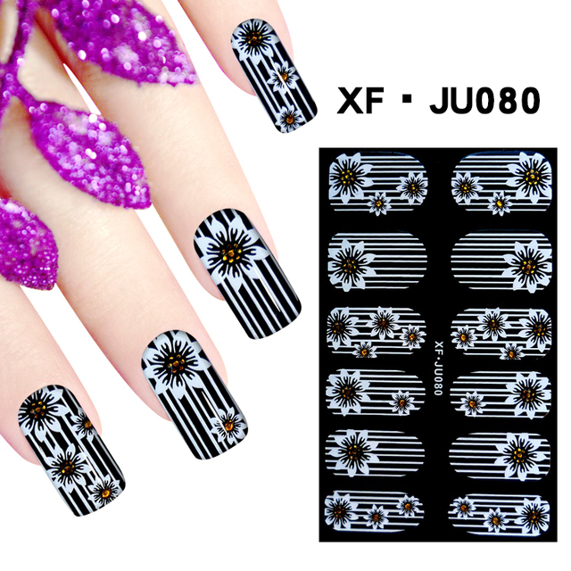 JU080 1 Sheet Fashion Design Nail Polish Sticker Full Cover Nail Art  Stickers Manicure 3D Nail