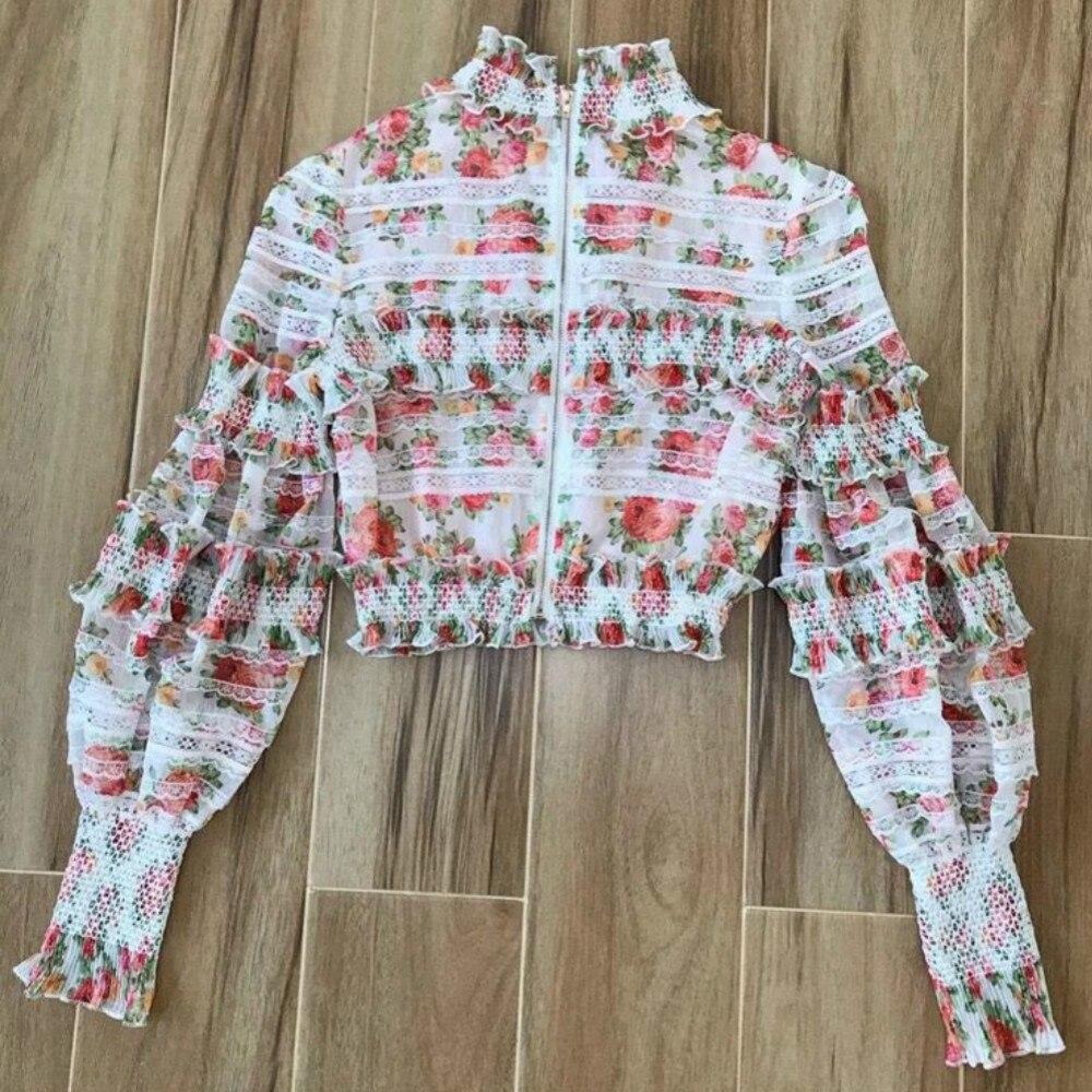 Fantaisie Top Costume Femmes Floral Haute Nouveau Crop Mignon Femelle Piste Mini Qualité Patchwork Jupe Noble Scénographe De Blanc Dentelle Luxe Imprimé ZBwAPt1q
