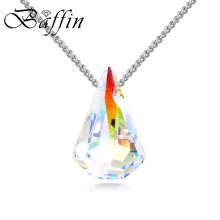 BAFFIN Women Simple Cosmic WaterDrop Fancy Stone Pendant Necklaces Silver Color Jewelry Made With SWAROVSKI ELEMENTS Crystal