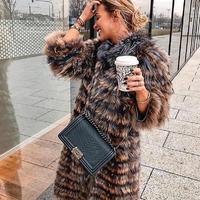 90 см длинное пальто из натурального меха лисы, высокое качество из натуральной черно бурой лисицы, красный Лисий мех, Женская куртка, Модная