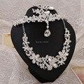 3 UNIDS sistemas de la joyería nupcial de cristal aretes collar de la boda nupcial tiaras joyería del pelo de la joyería de la boda