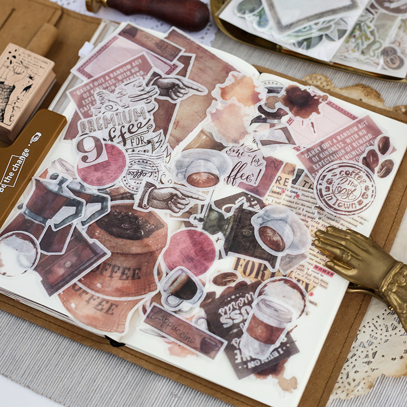 64pcs/lot Journal Japanese Paper Flower Vintage Calendar Coffee Decorative Diary Cute Stickers Scrapbooking Flakes Stationery