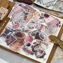 64 шт./лот, журнал, японский бумажный цветок, винтажный календарь, кофейный декоративный дневник, милые наклейки, скрапбукинг, хлопья, канцелярские товары