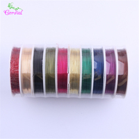 Free Shipping 0 4MM 10Rolls Lot Random Colors Metal Tiger Wire For Chunky Necklace Making For