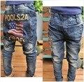 DK0073 бесплатная доставка высокое качество мальчики хлопок джинсы модные дети джинсовые брюки детей случайные письма печатаются жан брюки розничная