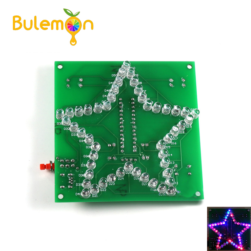 Colorful Glare Five-pointed Star Water Light Pattern LED Light 51 Single-chip Electronic DIY Production Kit
