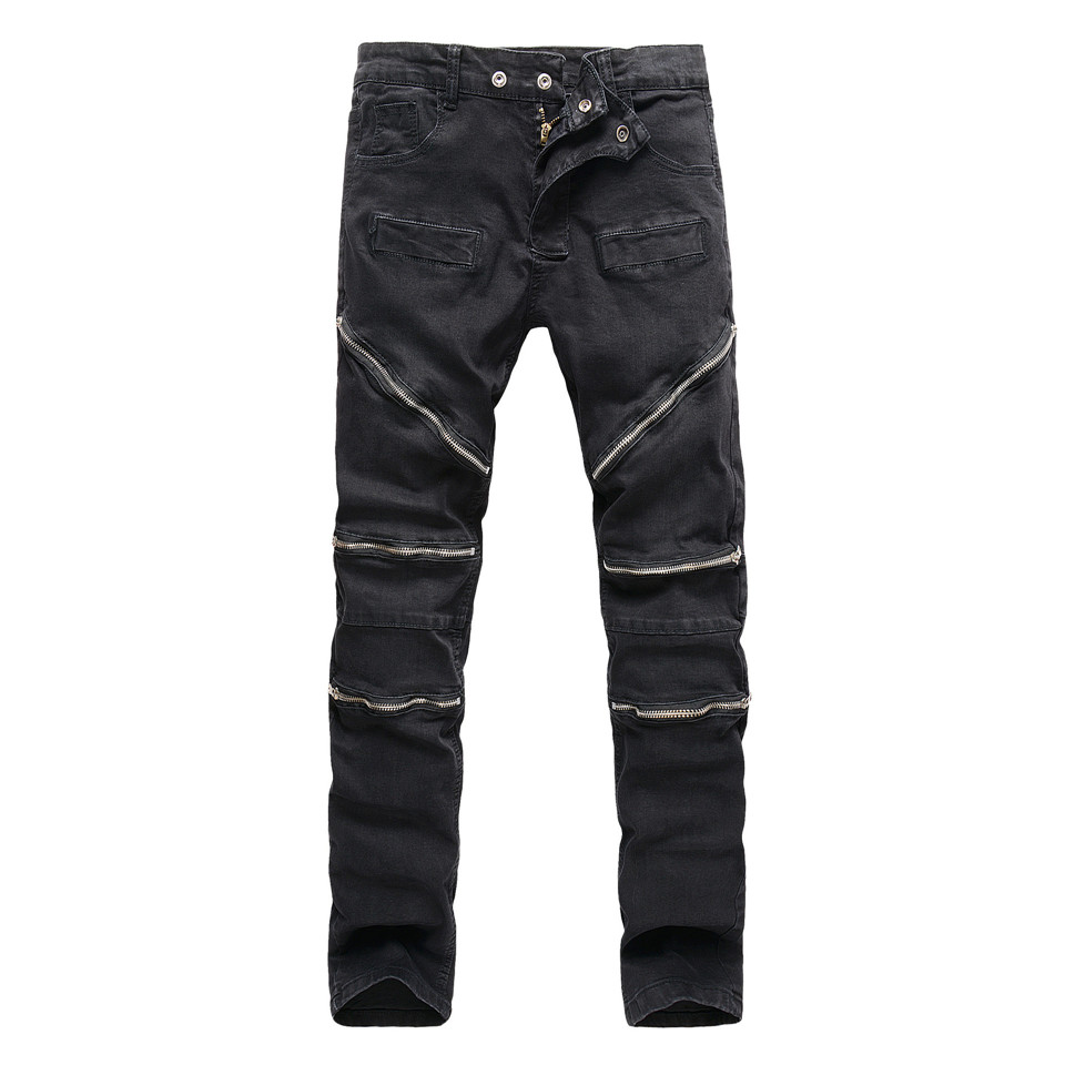 Black Denim Biker Jeans Zipper Stretch Mens Jeans Slim Straight Motorcycle Jogger Pants Men Fashion Street Trousers 2017 fashion patch jeans men slim straight denim jeans ripped trousers new famous brand biker jeans logo mens zipper jeans 604