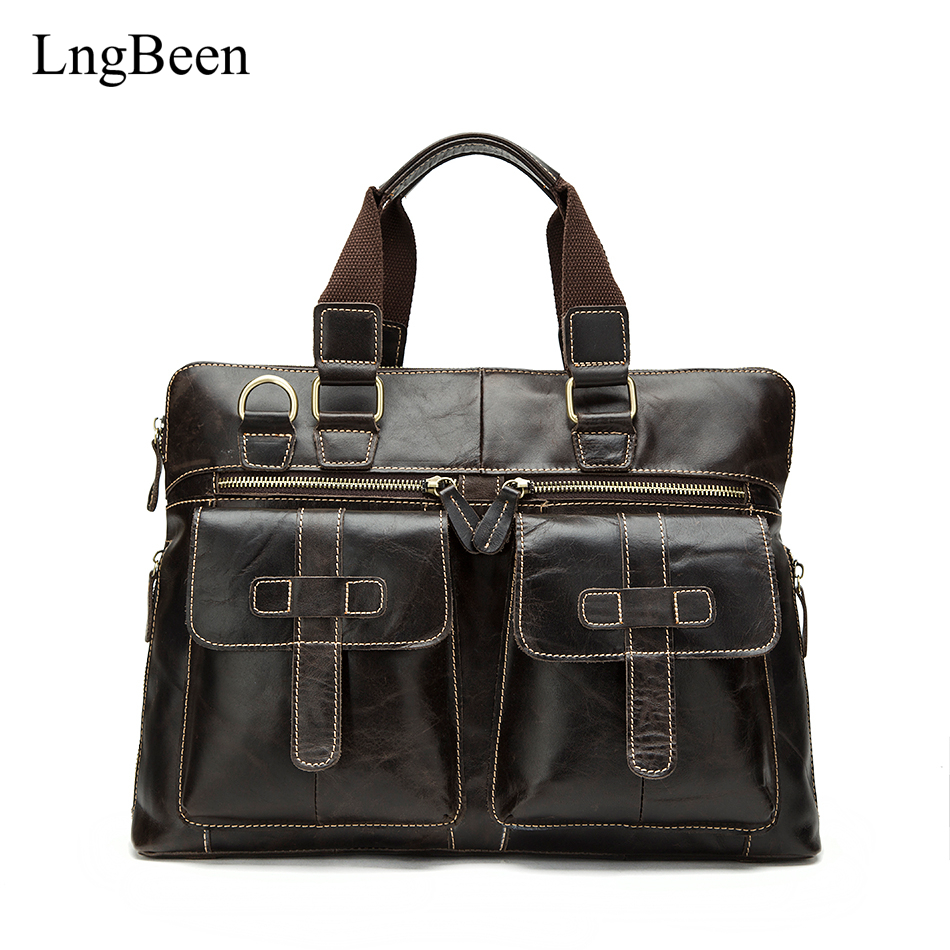 NEW Genuine Leather Coffee Men Briefcase Laptop Business Bag Retro Cowhide Men's Messenger Bags Luxury Lawyer Handbags LB261 2017 fashion genuine leather men briefcase cowhide men s messenger bags 15 6 laptop business bag luxury lawyer handbags li 1832