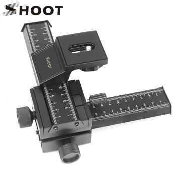 SHOOT 4 Way Macro Focusing Rail Slider for Canon Sony Nikon Pentax Close-Up Shooting Tripod Head with 1/4 Screw for DSLR Camera slide rail support rod for slider dolly rail track photography dslr camera stabilizer system tripod accessories