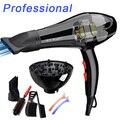 Con 6 regalos gratis 3000 w secador de pelo Profesional secador de pelo para uso doméstico salón secador de pelo con boquillas de aire Caliente y fría ajuste