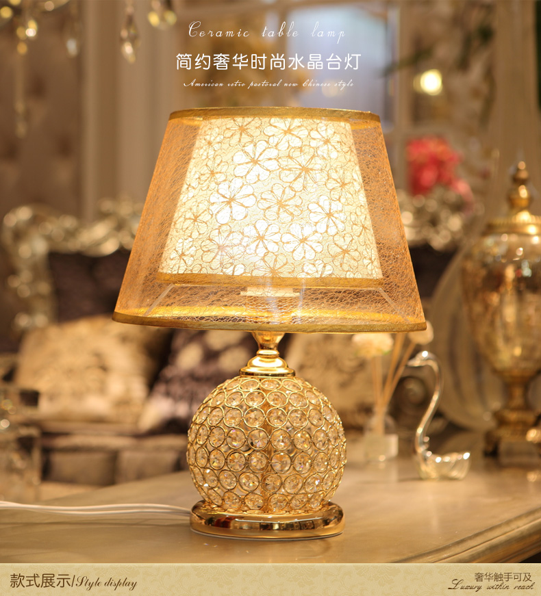 Ofhead american style table lamp modern brief fashion table lamp bed-lighting LED crystal lamp modern brief fashion ofhead lamps table lamp