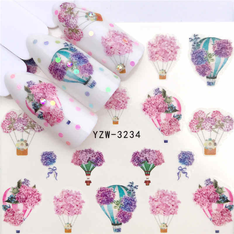 FWC 2019 New Arrivial Lavender Series Water Decal Animal / Flamingo / Flower 3D Manicure Sticker Nail Water Sticker