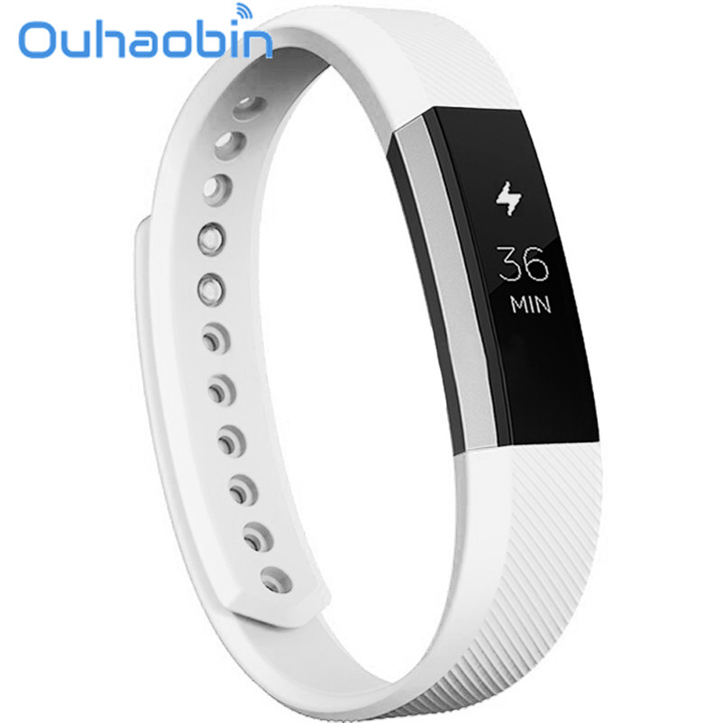 Ouhaobin 10.5cm 1.6cm White Color Soft Silicone Watch band Wrist strap For Fitbit Alta Smart Watch Gift Oct 26 Dropship