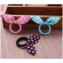 Fashion girl h air band mixed style wave point bow rabbit ears s tretch rope woman ponytail 1PC