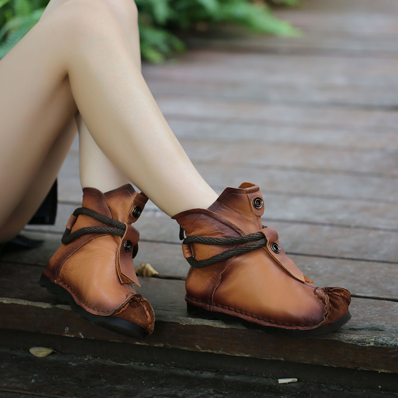 6042183c Botas Invierno Estilo leather Cuero Insole Suave Romanas Planas De brown  grey 2018 Tacón Zapatos Mujer ...