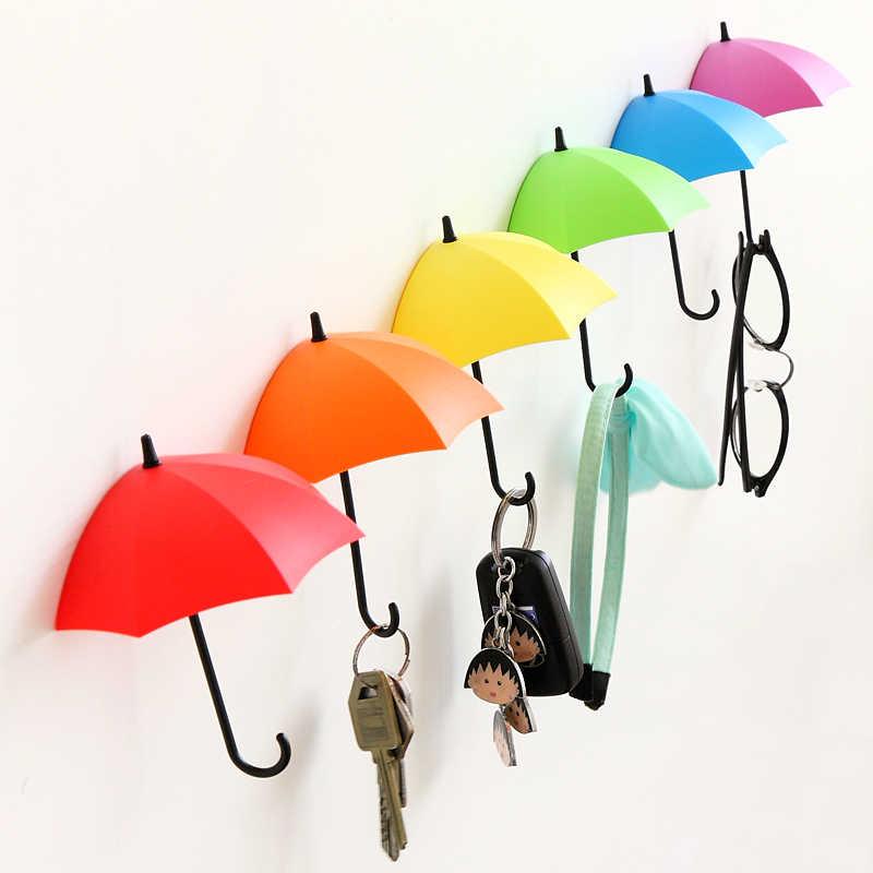 Etiqueta adhesiva con forma de paraguas, gancho de pared, colgador creativo, llavero para decoración del hogar de la cocina del baño de la boda