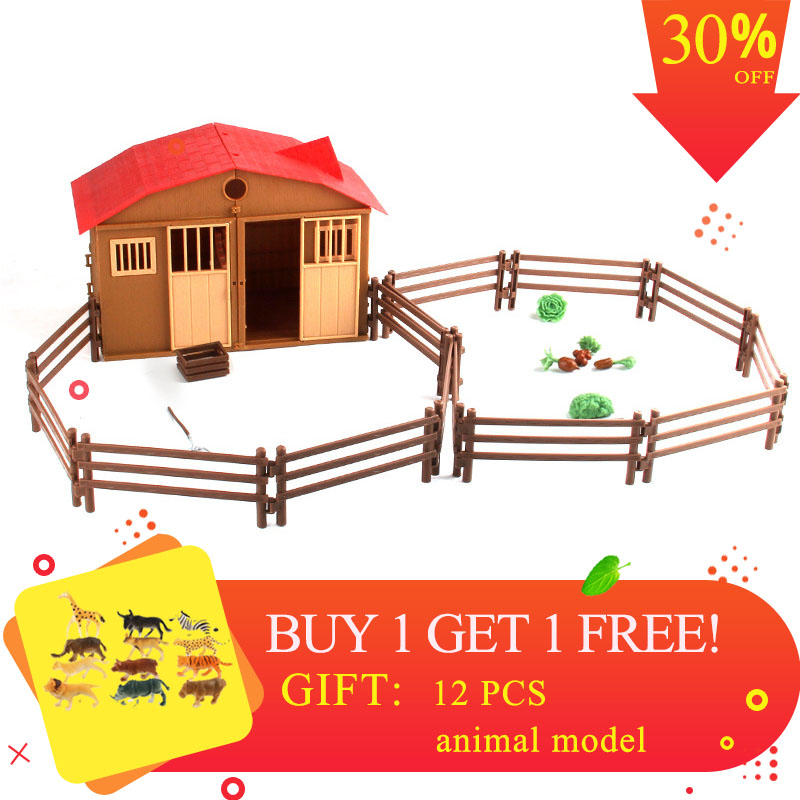 Simulation Play Model Farm House Model Children Play House Toy Poultry Animal Model Scene Model Toys For Children