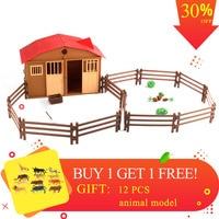 Simulation Play Model Farm House Model Children Play House Toy Poultry Animal Model Scene Model toys for children
