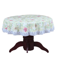 PVC Pastoral Round Table Cloth Waterproof Oilproof Non Wash Plastic Pad Plus Velvet Anti Hot Coffee